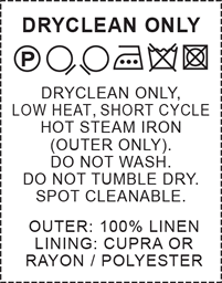 100 % linen mia sewing washing care label on soft satin 5 pack.